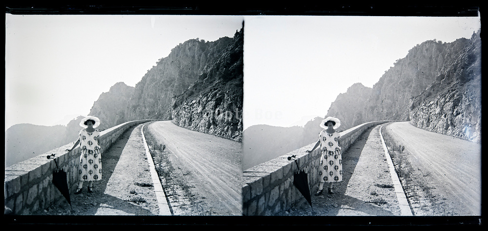 posing at a picturesque mountain road Italy circa 1920s
