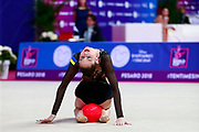Nikolchenko Vlada during Qualification of the ball at World Cup Pesaro 2018.<br /> She was born at Kharkiv in Ukraine 2002.