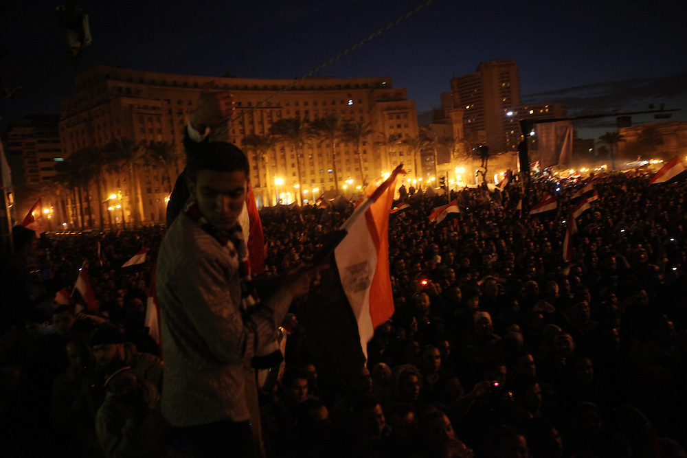 Hundreds of thousands of Egyptians protest at Tahrir Square prior to the third speech of Hosni Mubarak since protests began calling for his ouster.