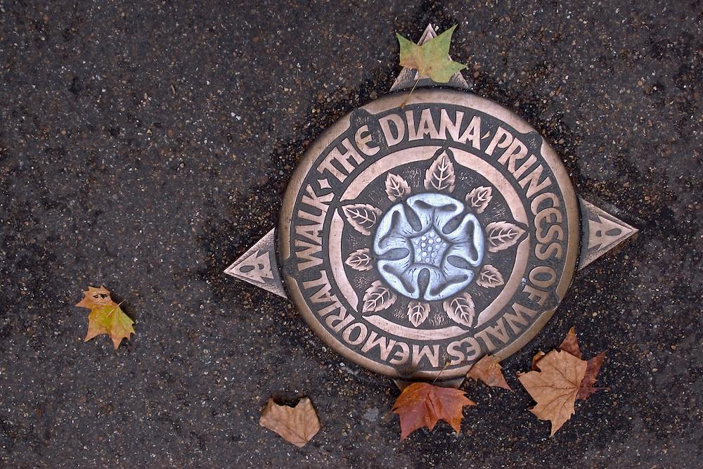 Una alcantarilla que decora el paseo memorial de la Princesa Diana de Gales en el parque Saint James. Londres, 27-11-2005. (ivan gonzalez)