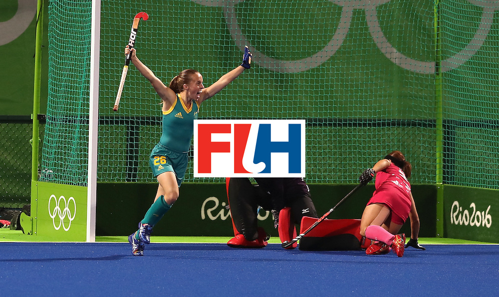 RIO DE JANEIRO, BRAZIL - AUGUST 13:  Emily Smith of Australia celebrates after scoring their second goal during the Women's Pool B hockey match between Australia and Japan on Day 8 of the Rio 2016 Olympic Games at the Olympic Hockey Centre on August 13, 2016 in Rio de Janeiro, Brazil.  (Photo by David Rogers/Getty Images)