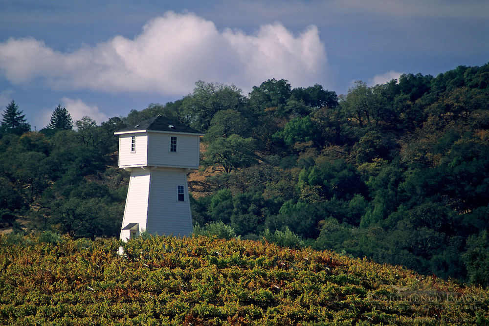 Vineyards & tower at Silver Oak Cellars, Alexander Valley Estate, Sonoma County, California