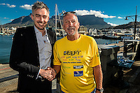 CAPE TOWN, SOUTH AFRICA - Wednesday 9 December 2015, Tim Harris, CEO of Wesgro the official tourism trade and investment promotion agency for Cape Town and the Western Cape officially welcomed legendary cricketer and commentator Sir Ian Botham to the province today. Sir Ian Botham affectionately known as Beefy launched his charity walk entitled &ldquo;beefy walking the rainbow nation&rdquo; and will be looking forward to take the first of many steps tomorrow with a walk from the V&amp;A Waterfront to Llandudno before concluding the Cape Town leg of his charity walk as he makes his way from Hout Bay to Tokai before walking from Kayamandi Primary School in Stellenbosch to Flagstone on the 11th and 12th December respectively.<br /> Beefy will be joined by local celebrities which include the likes of  actor Zola Hashatsi, TV personality Colin Moss, comedian Paul Snodgrass, ex Bafana Bafana player Matthew Booth and radio and TV personality, Liezel van der Westhuizen just to name a few.<br /> Photo by Roger Sedres/ImageSA