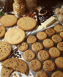 assorted cookies chocolate chip peanut butter baking pan butter eggs ingredients