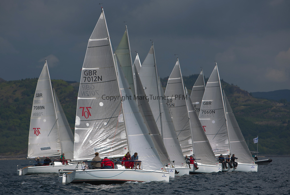 Day three of the Silvers Marine Scottish Series 2016, the largest sailing event in Scotland organised by the  Clyde Cruising Club<br /> Racing on Loch Fyne from 27th-30th May 2016<br /> <br /> Hunter 707 Fleet, start, GBR7012N, Mad Rafiki, Mark Homer, HSC/CCC, Hunter 707<br /> <br /> Credit : Marc Turner / CCC<br /> For further information contact<br /> Iain Hurrel<br /> Mobile : 07766 116451<br /> Email : info@marine.blast.com<br /> <br /> For a full list of Silvers Marine Scottish Series sponsors visit http://www.clyde.org/scottish-series/sponsors/