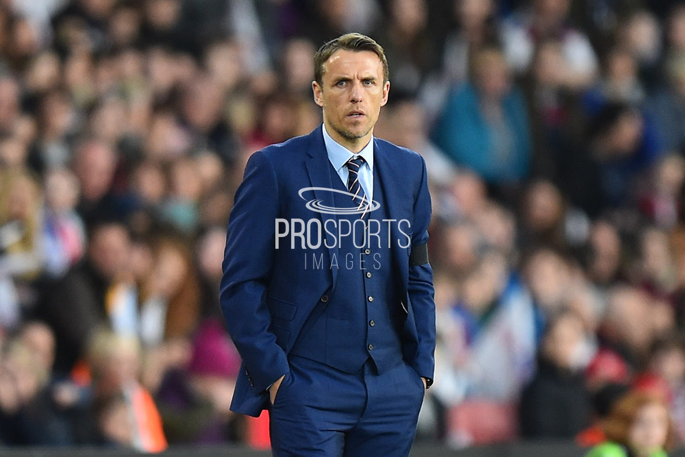 England women's manager Phil Neville during the FIFA Women's World Cup UEFA Qualifier match between England Ladies and Wales Women at the St Mary's Stadium, Southampton, England on 6 April 2018. Picture by Graham Hunt.