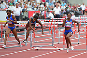 Kendra Harrison (USA) on her way to winning the 100m Hurdles Women Final during the Muller Anniversary Games at the London Stadium, London, England on 9 July 2017. Photo by Jon Bromley.