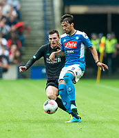 EDINBURGH, SCOTLAND - JULY 28: <br /> Napoli Right Winger, Simone Verde, gets away from Liverpool's Scottish internationalist defender, Andy Robertson, during the Pre-Season Friendly match between Liverpool FC and SSC Napoli at Murrayfield on July 28, 2019 in Edinburgh, Scotland. (Photo by MB Media)