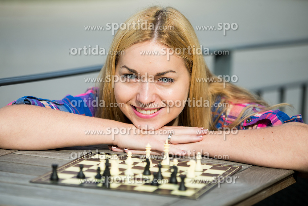 Laura Unuk during photo session after she became FIDE World Youth U18 Chess  Champion 2017,
