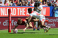Lewis Tierney of Catalans Dragons scores the first try against St Helens during the Ladbrokes Challenge Cup Semi Final match at the Macron Stadium Stadium, Bolton.<br /> <br /> Picture by Michael Sedgwick/Focus Images Ltd +44 7900 363072<br /> <br /> 05/08/2018