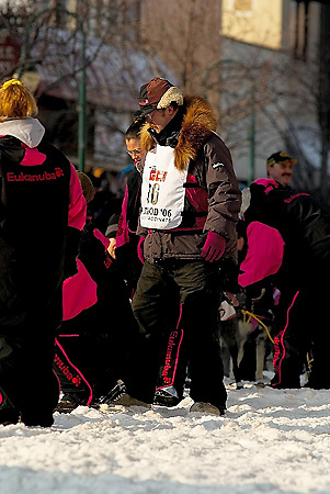 04 March 2006: Anchorage, Alaska - Rick Swenson, 5 time winner of the Iditarod checks on his team before he heads out at the Ceremonial Start in downtown Anchorage of the 2006 Iditarod Sled Dog Race