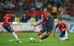 NOVI SAD, SERBIA - Tuesday, September 11, 2012: Wales' Ashley Williams in action against Serbia during the 2014 FIFA World Cup Brazil Qualifying Group A match at the Karadorde Stadium. (Pic by David Rawcliffe/Propaganda)