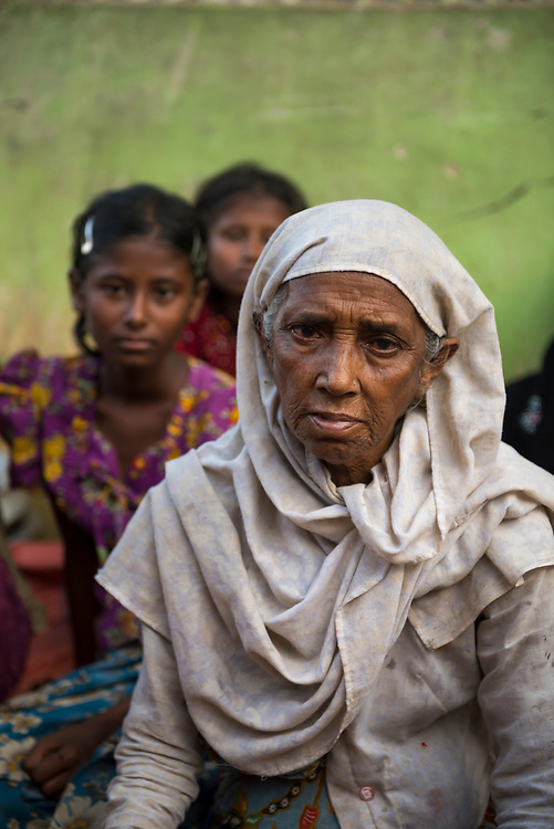 Rasida Khatun, age 70, newly arrived at Kutupalong refugee camp, Bangladesh. She and 33 of her family and neighbors walked 17 days from their village in Myanmar to the border of Bangladesh, fleeing a campaign of ethnic cleansing against Myanmar's Rohingya population. (October 29, 2017)