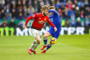 Leicester City Midfielder Harvey Barnes (19) tries to tackle Manchester United Defender Luke Shaw (23) during the Premier League match between Leicester City and Manchester United at the King Power Stadium, Leicester, England on 3 February 2019.