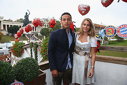 05.10.2014, Theresienwiese, München, GER, 1. FBL, FC Bayern Muenchen am Oktoberfest, im Bild Thiago of FC Bayern Muenchen attends with Julia Vigas the Oktoberfest beer festival at Kaefer Wiesnschaenke tent at Theresienwiese on 2014/10/05. EXPA Pictures © 2014, PhotoCredit: EXPA/ Eibner-Pressefoto/ Pool<br /> <br /> *****ATTENTION - OUT of GER*****