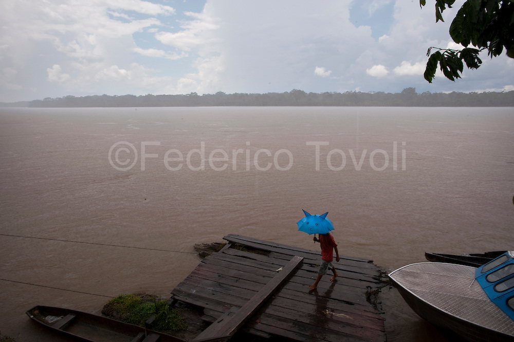 Rain on Napo river, Tachsa Curaray village