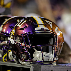 Oct 20, 2018; Baton Rouge, LA, USA; A detail of a LSU Tigers helmet during the second half against the Mississippi State Bulldogs at Tiger Stadium. LSU defeated Mississippi State 19-3. Mandatory Credit: Derick E. Hingle-USA TODAY Sports