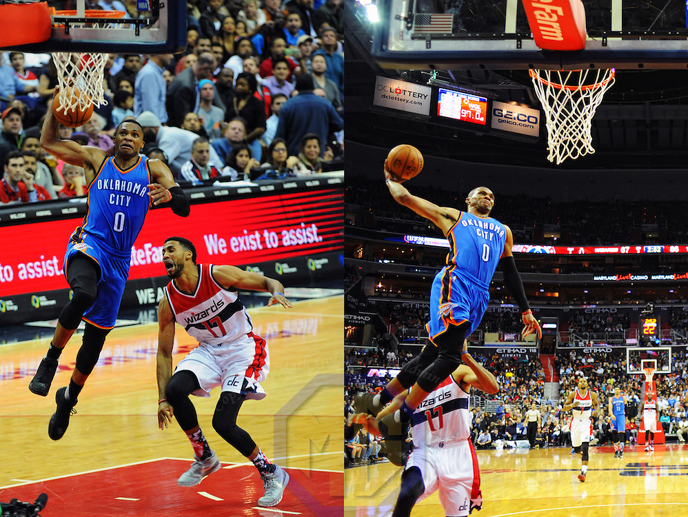 10 November 2015:  Oklahoma City Thunder guard Russell Westbrook (0) dunks the ball at the Verizon Center in Washington, D.C. where the Oklahoma City Thunder defeated the Washington Wizards, 125-101. (Photograph by Mark Goldman/Goldminephotos)