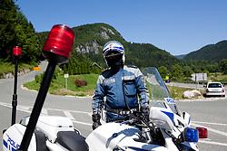 Policeman during 3rd Stage (219 km) at 19th Tour de Slovenie 2012, on June 16, 2012, in Skofja Loka, Slovenia. (Photo by Matic Klansek Velej / Sportida.com)