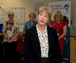 Scottish Health Secretary Shona Robison meets with staff at the Victoria Hospital in Kirkcaldy to announce &pound;5 million GBP extra funding for NHS services in Scotland to help with tackling the increased strain on health services during the winter months.<br /> &copy; Dave Johnston/ EEm