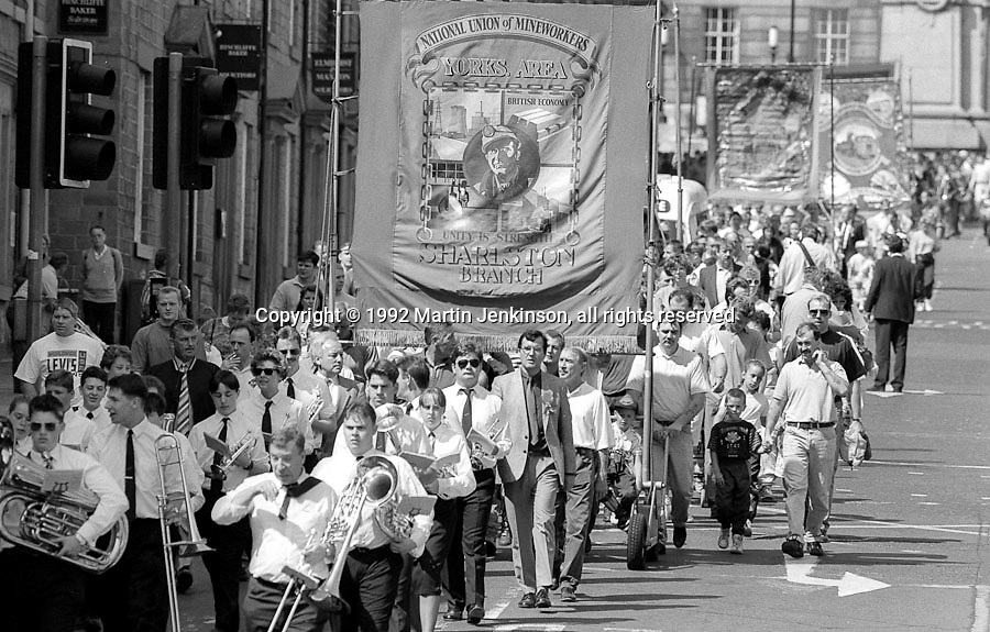 Sharlston Branch banner. 1992 Yorkshire Miners Gala, Barnsley.