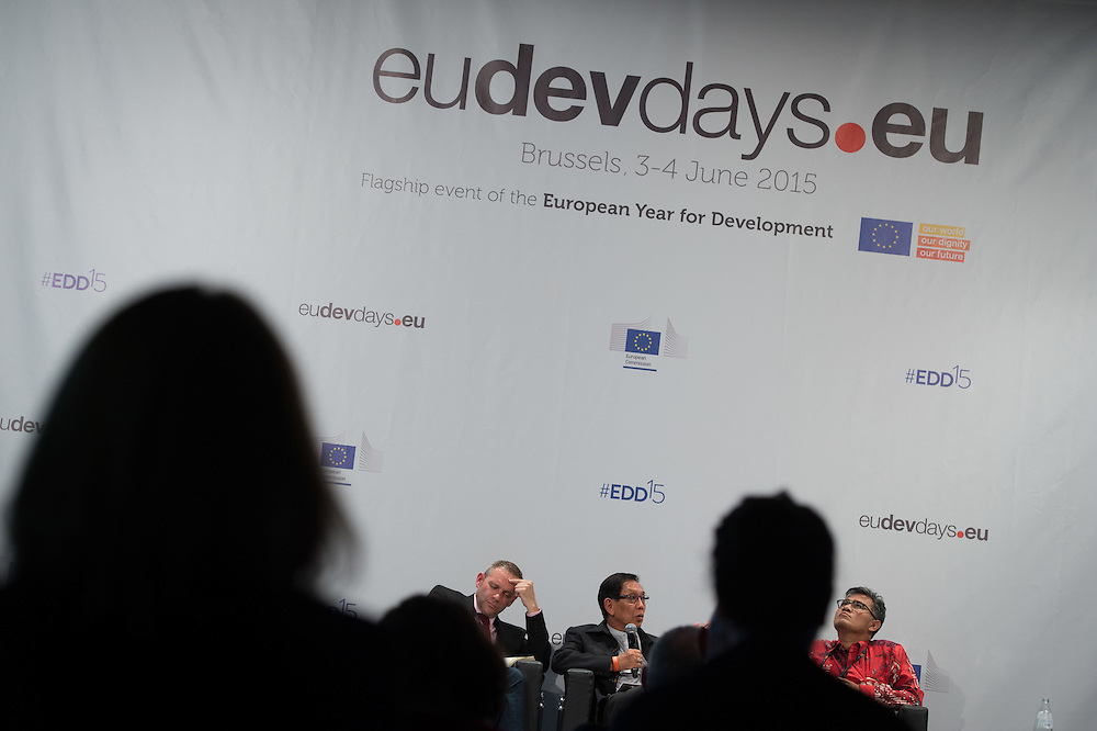 03 June 2015 - Belgium - Brussels - European Development Days - EDD - Inclusion - Social enterprise - Stemming the tide on income inequality - Peter Holbrook<br /> Chief Executive, Social Enterprise UK - Aung Tun Thet<br /> President's Economic Advisor, Myanmar and Senior Advisor, United Nations (UN) - Budiman Sudjatmiko<br /> Senior Member of Parliament, Indonesia &copy; European Union