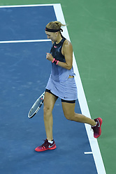 WUHAN, Sept. 24, 2017 Elena Vesnina of Russia celebrates during the singles' first round match against Duan Yingying of China at 2017 WTA Wuhan Open in Wuhan, capital of central China's Hubei Province, on Sept. 24, 2017. Elena Vesnina won 2-0.  wll) (Credit Image: © Ou Dongqu/Xinhua via ZUMA Wire)