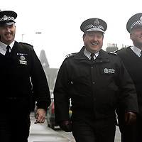 Tayside Police Chief Constable John Vine (centre) pictured with new G8 Community Liason Officer PC John Fairley (right) and exiting G8 Community Liason Officer PC Fraser White.<br />