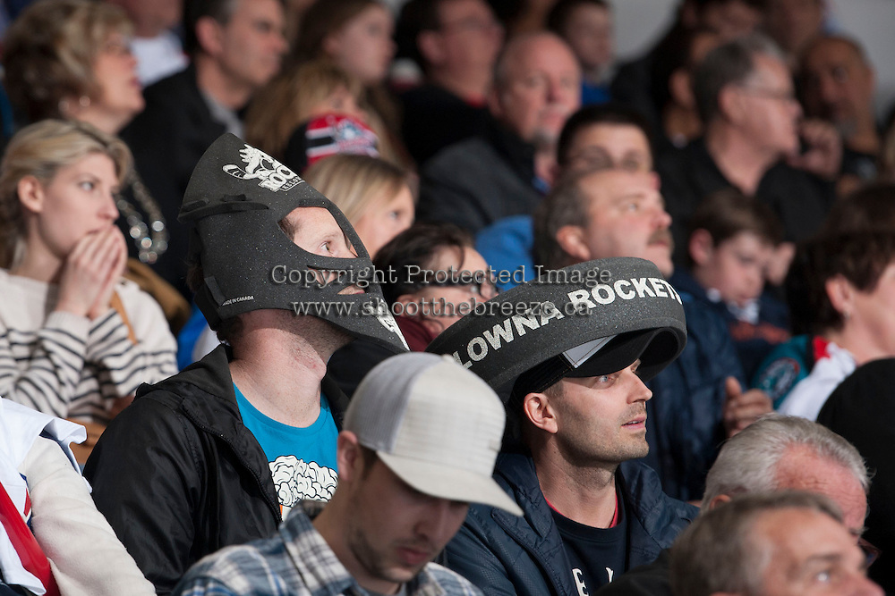 KELOWNA, CANADA - APRIL 5: Kelowna Rockets' fans sit in the stands on April 5, 2014 during Game 2 of the second round of WHL Playoffs at Prospera Place in Kelowna, British Columbia, Canada.   (Photo by Marissa Baecker/Getty Images)  *** Local Caption *** fans