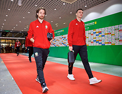 NANNING, CHINA - Thursday, March 22, 2018: Wales' Joe Allen and James Chester arrive before the opening match of the 2018 Gree China Cup International Football Championship between China and Wales at the Guangxi Sports Centre. (Pic by David Rawcliffe/Propaganda)