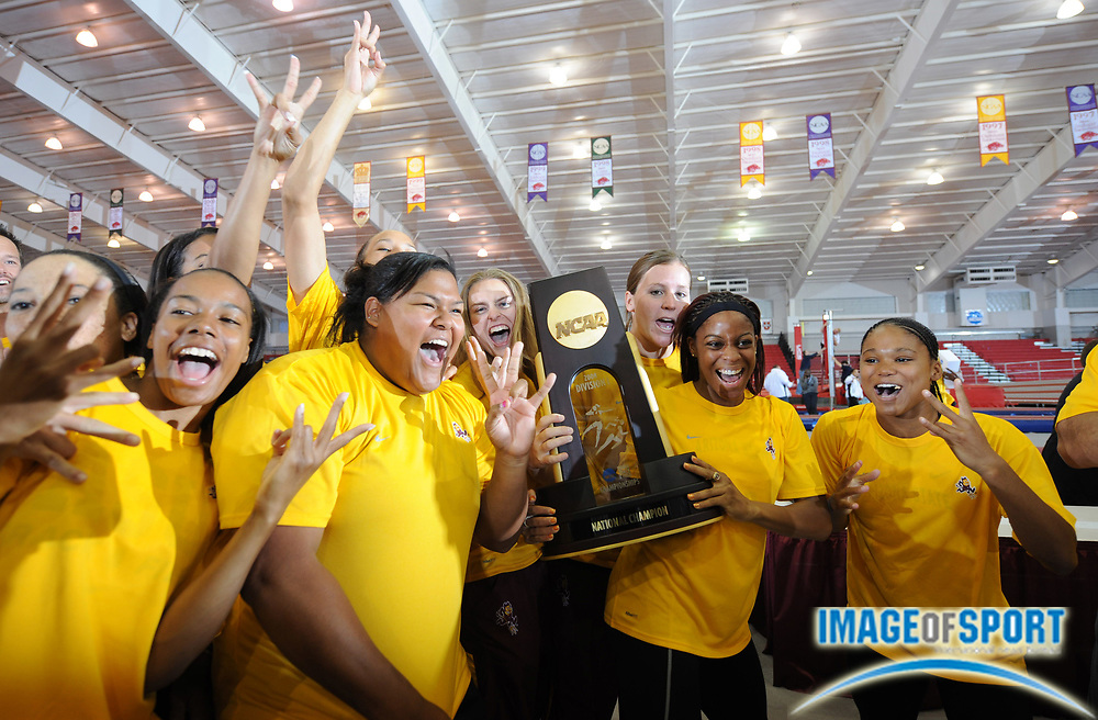 Mar 15, 2008; Fayetteville, AR, USA; The Arizona State women celebrate after winning the team title for the second year in a row in the NCAA indoor track and field championships at the Randal Tyson Center.