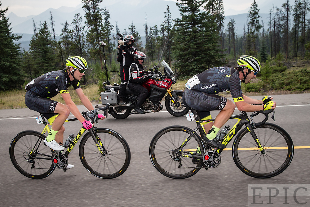 JASPER, ALBERTA, CAN - September 1: Ty Magner (Holowesko-Citadel p/b Hincapie Sportswear) and teammate Oscar Clarke (Holowesko-Citadel p/b Hincapie Sportswear) break away during stage 1 of the Tour of Alberta on September 1, 2017 in Jasper, Canada. (Photo by Jonathan Devich)