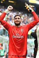 esultanza Gianluigi Donnarumma celebration<br /> Milano 15-04-2017, Stadio Giuseppe Meazza, Football Calcio 2016/2017 Serie A, Inter - Milan, Foto Image Sport/Insidefoto