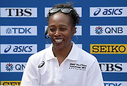 Gail Devers (USA) during a news conference prior to the IAAF World Relays, Friday, May 10, 2019,  in Yokohama, Japan.