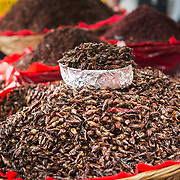 Fried grasshoppers at a market stall in Oaxaca, Mexico