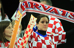 Croatian fans during 21st Men's World Handball Championship 2009 Main round Group I match between National teams of Croatia and Hungary, on January 24, 2009, in Arena Zagreb, Zagreb, Croatia.  (Photo by Vid Ponikvar / Sportida)