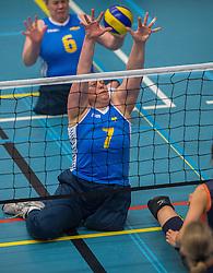 14-02-2016 NED: Nederland - Oekraine, Houten<br /> De Nederlandse paravolleybalsters speelde een vriendschappelijke wedstrijd tegen Europees kampioen Oekraïne. De equipe van bondscoach Pim Scherpenzeel bereidt zich tegen Oekraïne voor op het Paralympisch kwalificatietoernooi in China, dat in maart wordt gespeeld /