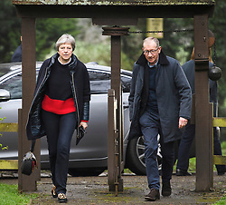© Licensed to London News Pictures. 14/04/2018. ., UK. British prime minister THERESA MAY attends a morning church service with her husband PHILIP MAY. The UK joined The U.S.A and France in a series of military strikes in Syrian aimed at chemical weapons facilities. Photo credit: Ben Cawthra/LNP
