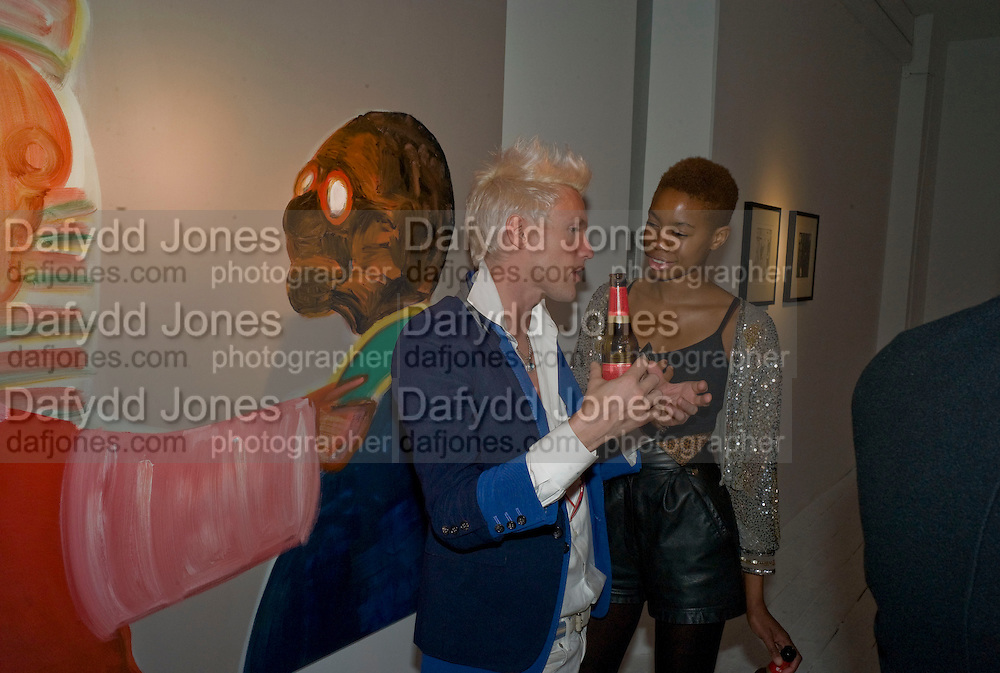 GRAHAM REBAK; TOLULA ADEYEMI, Saatchi Online artists at the Gallery. Beach Blanket Babylon.  Part of Concrete and Glass. Bethnall Green Rd. London. 2 October 2008 *** Local Caption *** -DO NOT ARCHIVE-© Copyright Photograph by Dafydd Jones. 248 Clapham Rd. London SW9 0PZ. Tel 0207 820 0771. www.dafjones.com.
