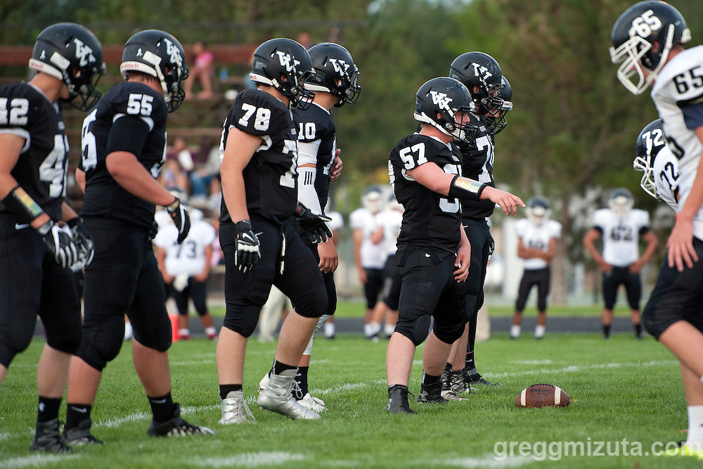 Vale offense (L to R: Josh Duckworth, Michael Young, Cody Ross, Cade Perry, Andrew Collins) during Vale's season opening 38-0 win over Parma on September 2, 2016 at Vale, Oregon.
