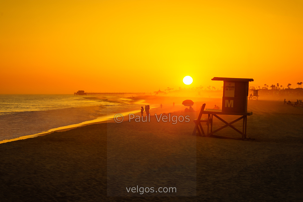 Newport Beach California Lifeguard Tower M sunset photo. Balboa Peninsula is a popular area of Newport Beach along the Pacific Ocean in Orange County. Photo is high resolution. Copyright ⓒ 2017 Paul Velgos with All Rights Reserved.