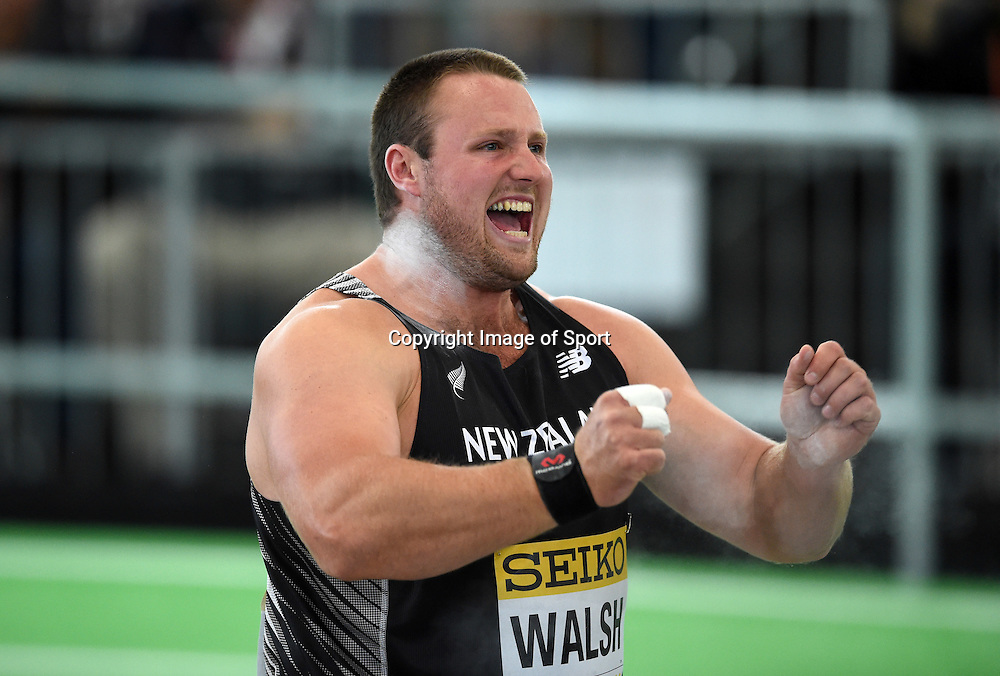 Mar 18, 2016; Portland, OR, USA; Tomas Walsh (NZL) celebrates after winning the shot put during the 2016 IAAF World Championships in Athletics at the Oregon Convention Center. Copyright photo: Kirby Lee / www.photosport.nz