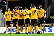 Wolverhampton Wanderers forward Raul Jimenez (9) scores a goal 1-1 and celebrates during the Premier League match between Wolverhampton Wanderers and Chelsea at Molineux, Wolverhampton, England on 5 December 2018.