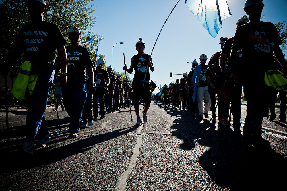 July 10th 2012, Madrid, Spain - Coal miners from Spain's northern regions reached Madrid after walking about 500 km for nearly three weeks during their Marcha Negra (Black March) to protest against austerity cuts in government subsidies to the mining industry.