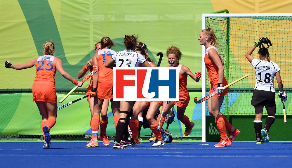 Netherlands' players celebrate a goal during the women's semifinal field hockey Netherlands vs Germany match of the Rio 2016 Olympics Games at the Olympic Hockey Centre in Rio de Janeiro on August 17, 2016. / AFP / Pascal GUYOT        (Photo credit should read PASCAL GUYOT/AFP/Getty Images)