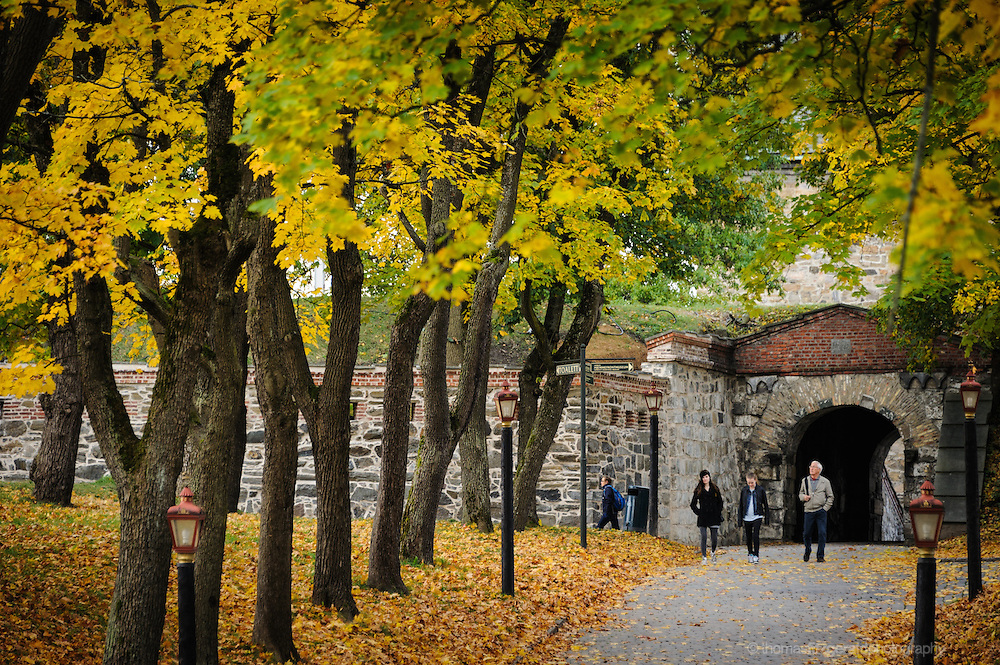 Oslo, Norway, October 2012: Tourists in the Grounds of the Oslo Fortress.EDITORIAL ONLY: This Image is only for Editorial Use