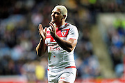 Try scorer for England Ryan Hall (5 Leeds Rhinos) during the Ladbrokes Four Nations match between England and Scotland at the Ricoh Arena, Coventry, England on 5 November 2016. Photo by Craig Galloway.
