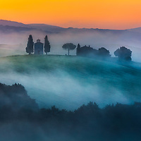 Tuscany valley  at misty morning in springtime
