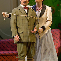 Picture shows :  Kate Valentineas Karolina with David Pomeroy as Ladislav Podhajsky...Picture  ©  Drew Farrell Tel : 07721 ?735041.THE TWO WIDOWS by  Smetana.A SCOTTISH OPERA AND EDINBURGH INTERNATIONAL FESTIVAL CO-PRODUCTION.Premiering at the Edinburgh International Festival, this brand new production stars Scottish soprano Kate Valentine and internationally renowned mezzo Jane Irwin..The directorial partnership between Tobias Hoheisel and Imogen Kogge transforms this delicate comedy into something that digs deeper without losing its inherent charm. Francesco Corti conducts this, his first production as Music Director of Scottish Opera...Kate Valentine as Karolina Záleská.Jane Irwin as Ane?ka Miletinská?Nicholas Folwell as Mumlal?David Pomeroy as Ladislav Podhajsky?Ben Johnson as Toník, a peasant?Rebecca Ryan as Lidka, a maid.?Conductor..Francesco Corti.Directors ..         Tobias Hoheisel & Imogen Kogge.Designer..         Tobias Hoheisel.Lighting..         Peter Mumford.Choreographer  .Kally Lloyd-Jones.Dramaturg..Micaela von Marcard..Performances :.Edinburgh Festival Theatre?9 ? 11 ? 12  August?Theatre Royal, Glasgow?10 ?  14 ? 17 ? October?Note to Editors:  This image is free to be used editorially in the promotion of Scottish Opera and The Edinburgh International Festival. Without prejudice ALL other licences without prior consent will be deemed a breach of copyright under the 1988. Copyright Design and Patents Act  and will be subject to payment or legal action, where appropriate..Further further information please contact Kerryn Hurley Scottish Opera Press Manager t:   0141 242 0511. Or contact The Edinburgh International Festival Press Office  +44 (0)131 473 2020.
