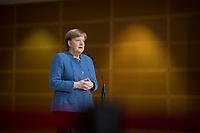 DEU, Deutschland, Germany, Berlin,04.02.2018: Bundeskanzlerin Dr. Angela Merkel (CDU) beim Pressestatement vor den Koalitionsverhandlungen zwischen CDU/CSU und SPD im Willy-Brandt-Haus.